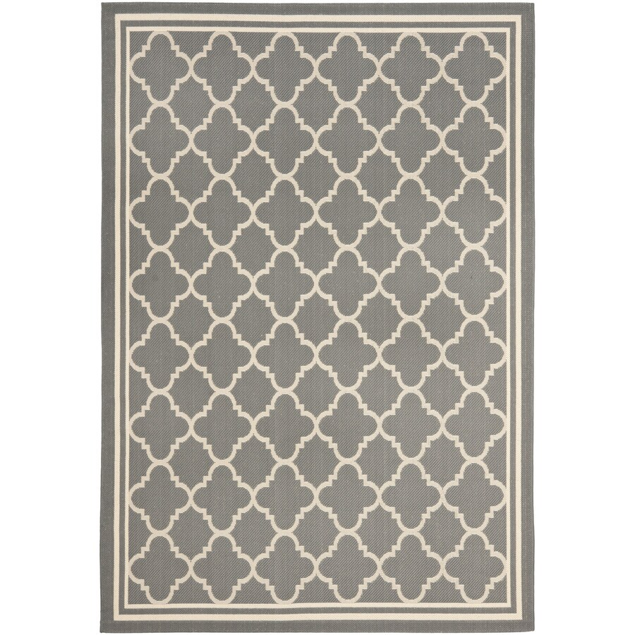 Safavieh Courtyard 9-ft x 12-ft 6-in Rectangular Gray Transitional Indoor/Outdoor Area Rug
