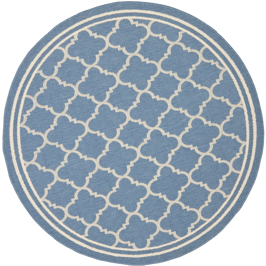 Safavieh Courtyard Blue and Beige Round Indoor and Outdoor Machine-Made Area Rug (Common: 5 x 5; Actual: 63-in W x 63-in L x 0.33-ft Dia)