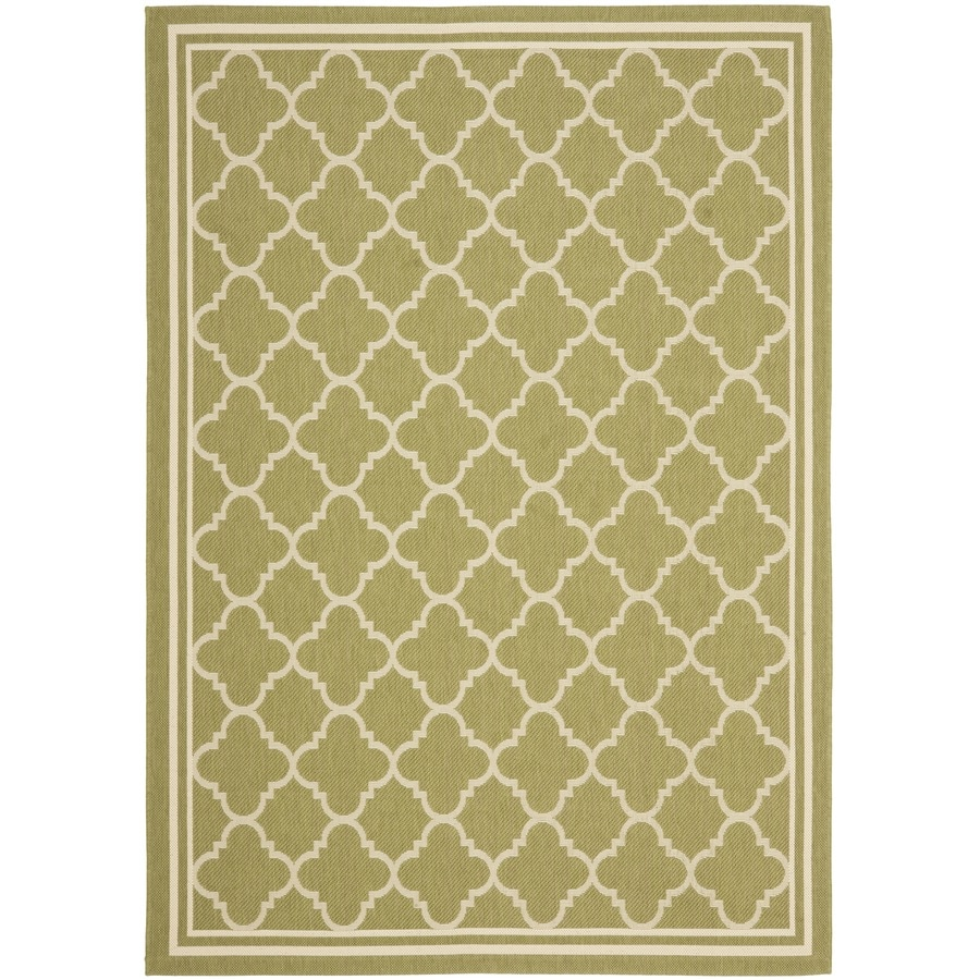 Safavieh Courtyard Green and Beige Rectangular Indoor and Outdoor Machine-Made Area Rug (Common: 5 x 8; Actual: 63-in W x 91-in L x 0.42-ft Dia)