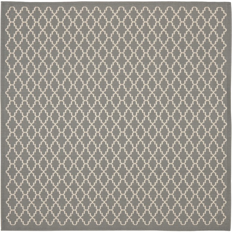 Safavieh Courtyard 6-ft 7-in x 6-ft 7-in Square Gray Transitional Indoor/Outdoor Area Rug
