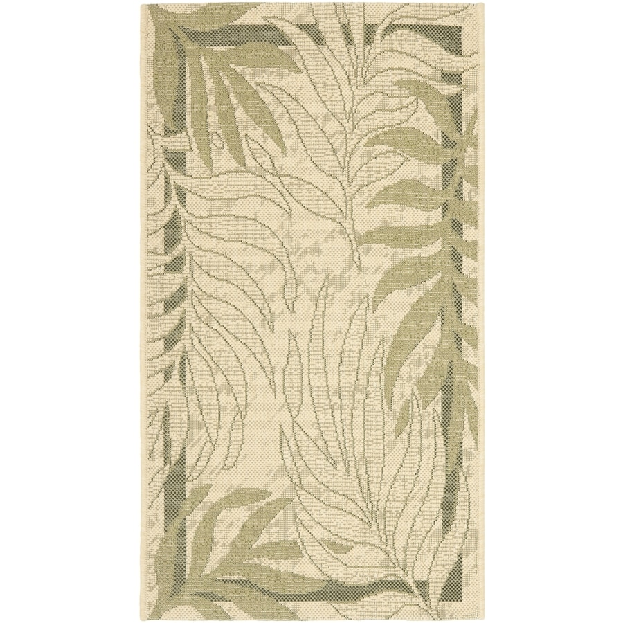 Safavieh Courtyard Cream and Green Rectangular Indoor and Outdoor Machine-Made Throw Rug (Common: 3 x 5; Actual: 31-in W x 60-in L x 0.33-ft Dia)