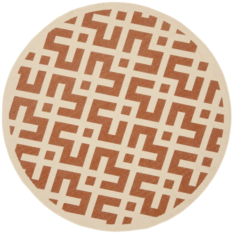 Safavieh Courtyard Terracotta and Bone Round Indoor and Outdoor Machine-Made Area Rug (Common: 5 x 5; Actual: 63-in W x 63-in L x 0.33-ft Dia)