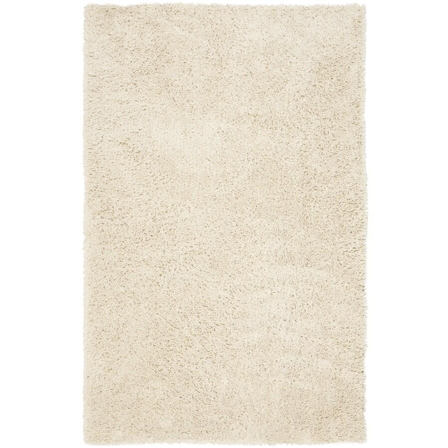 Safavieh Shag White Rectangular Indoor Tufted Area Rug (Common: 4 x 6; Actual: 48-in W x 72-in L x 0.58-ft Dia)