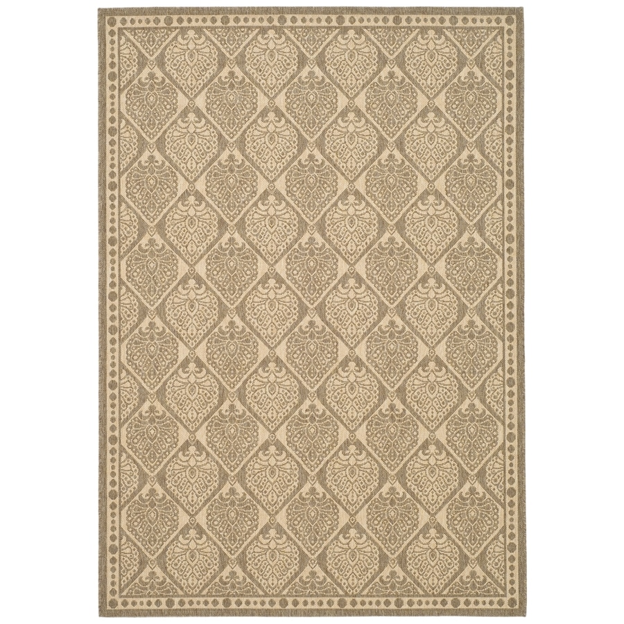 Safavieh Courtyard Coffee and Sand Rectangular Indoor and Outdoor Machine-Made Area Rug (Common: 8 x 11; Actual: 96-in W x 132-in L x 0.58-ft Dia)