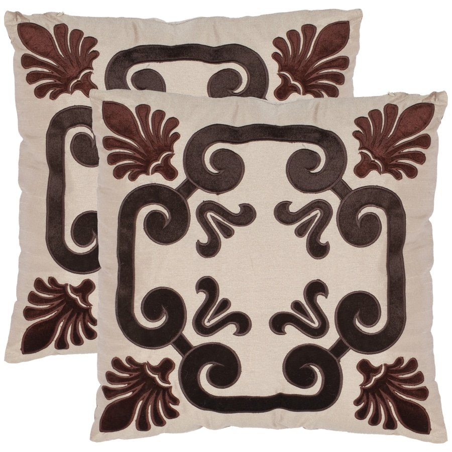 Safavieh 2-Piece 18-in W x 18-in L Brown/Black Square Indoor Decorative Complete Pillows