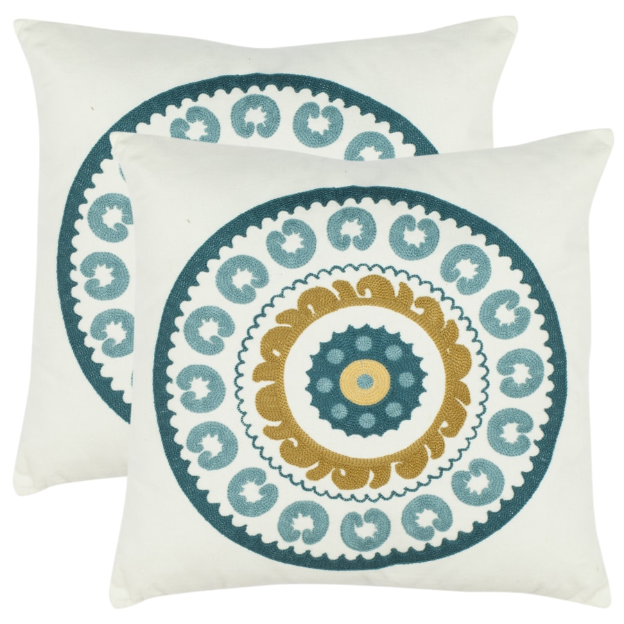 Safavieh 2-Piece 18-in W x 18-in L Turquoise Square Indoor Decorative Complete Pillows