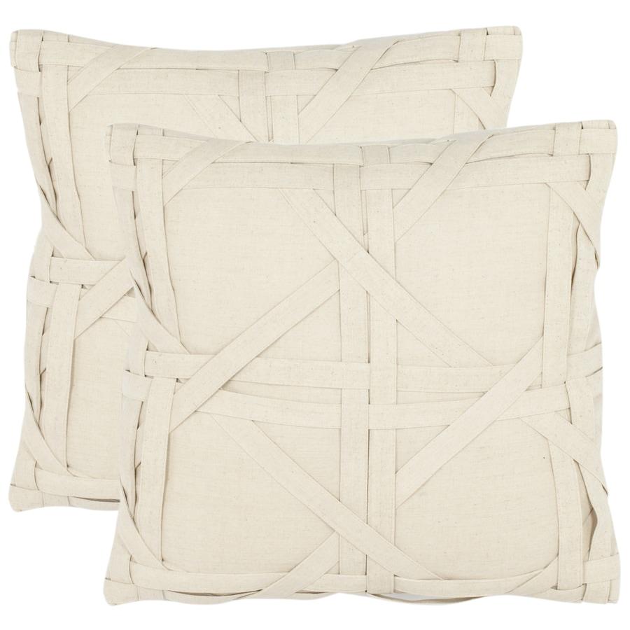 Safavieh 2-Piece 18-in W x 18-in L Beige Square Indoor Decorative Complete Pillows