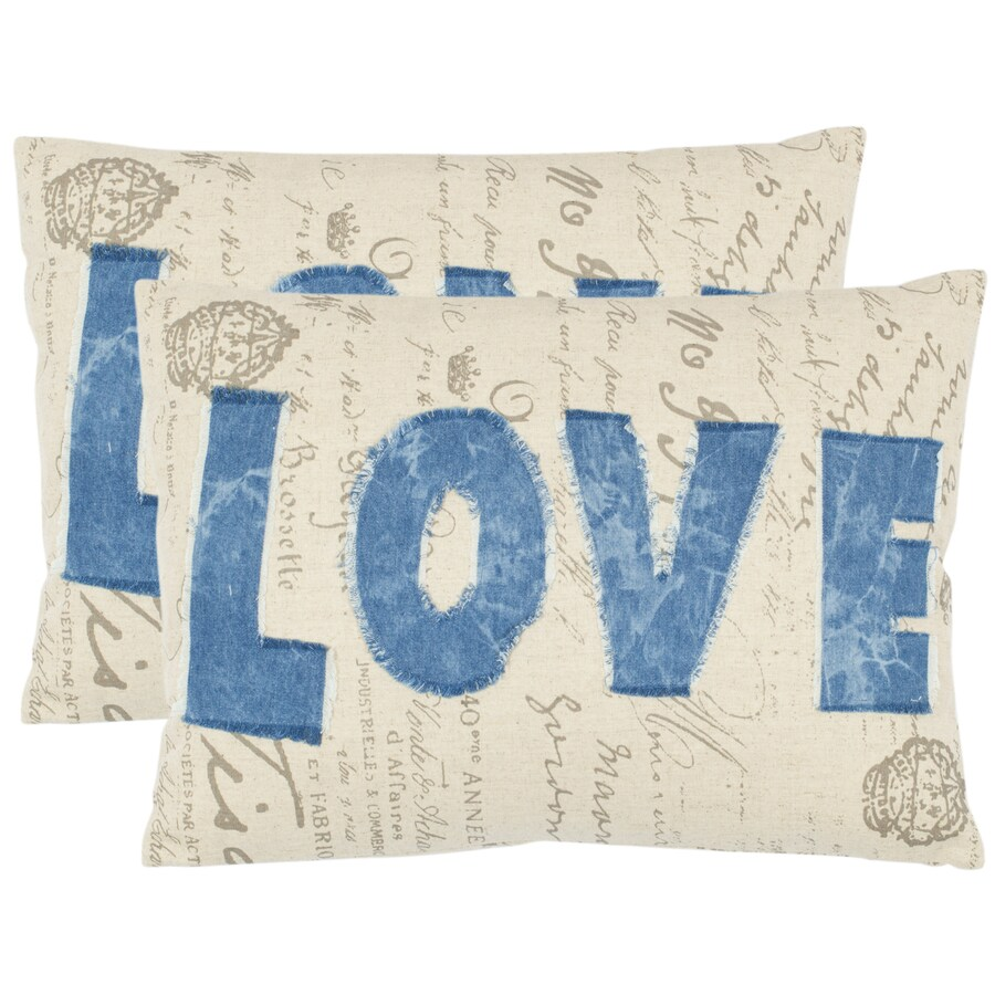 Safavieh 2-Piece 13-in W x 19-in L Denim Blue Rectangular Indoor Decorative Complete Pillows