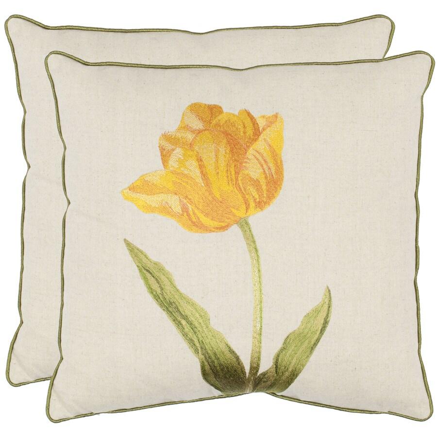 Safavieh 2-Piece 18-in W x 18-in L Golden Honey Square Indoor Decorative Complete Pillows