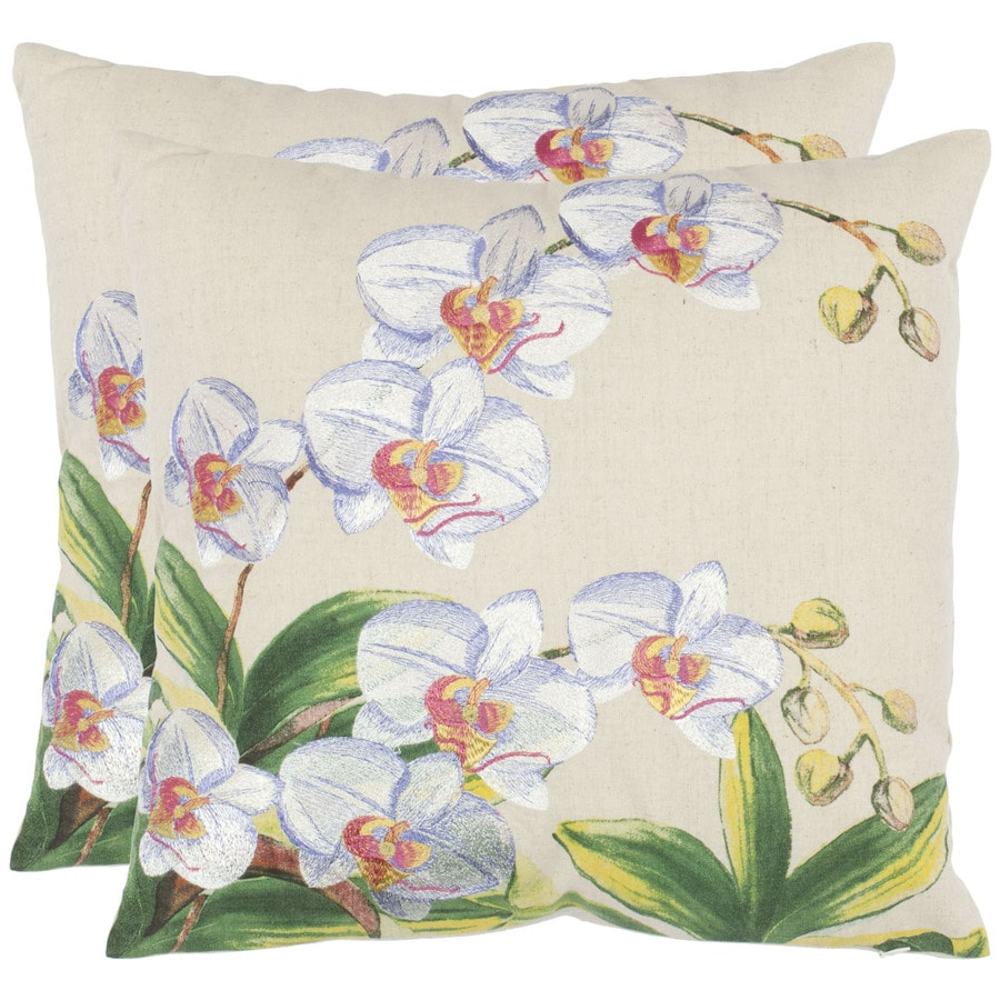 Safavieh 2-Piece 18-in W x 18-in L Eggshell Square Indoor Decorative Complete Pillows