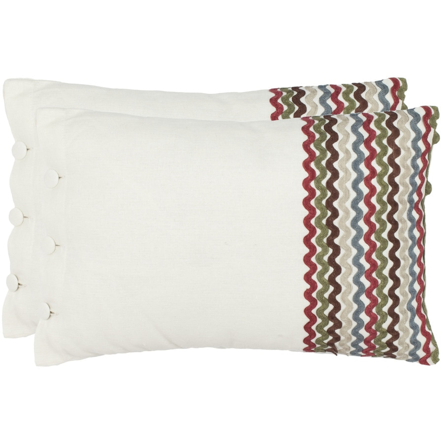 Safavieh 2-Piece 13-in W x 19-in L White/Multi Rectangular Indoor Decorative Complete Pillows