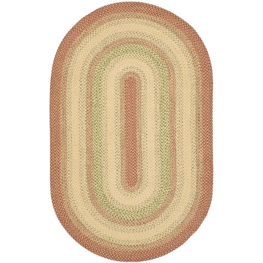 Safavieh Braided Rust and Multicolor Oval Indoor and Outdoor Braided Throw Rug (Common: 3 x 5; Actual: 36-in W x 60-in L x 0.33-ft Dia)