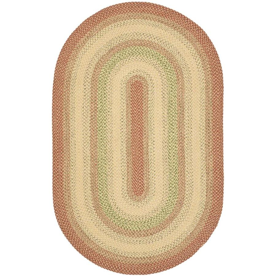 Safavieh Braided Rust and Multicolor Oval Indoor and Outdoor Braided Area Rug (Common: 4 x 6; Actual: 48-in W x 72-in L x 0.42-ft Dia)