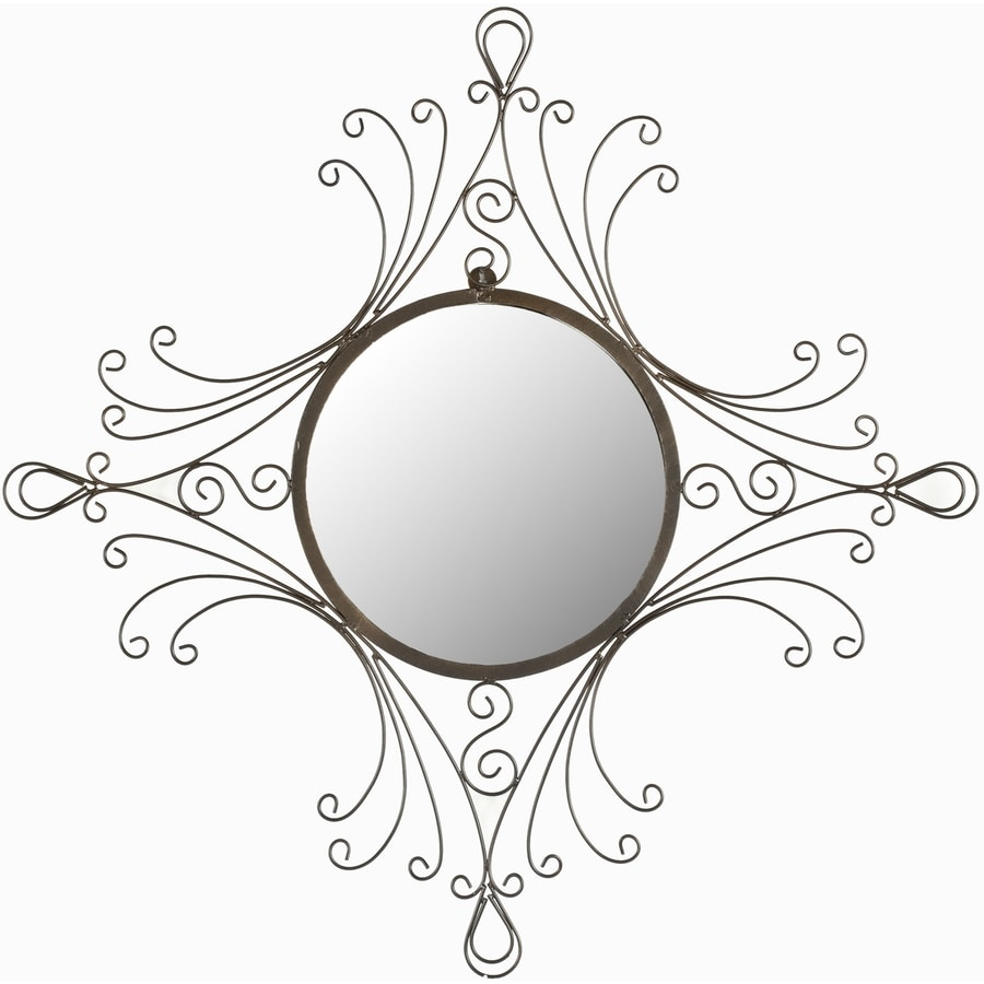 Safavieh 28.3-in x 31.5-in Antiqued Black Polished Round Framed Venetian Wall Mirror