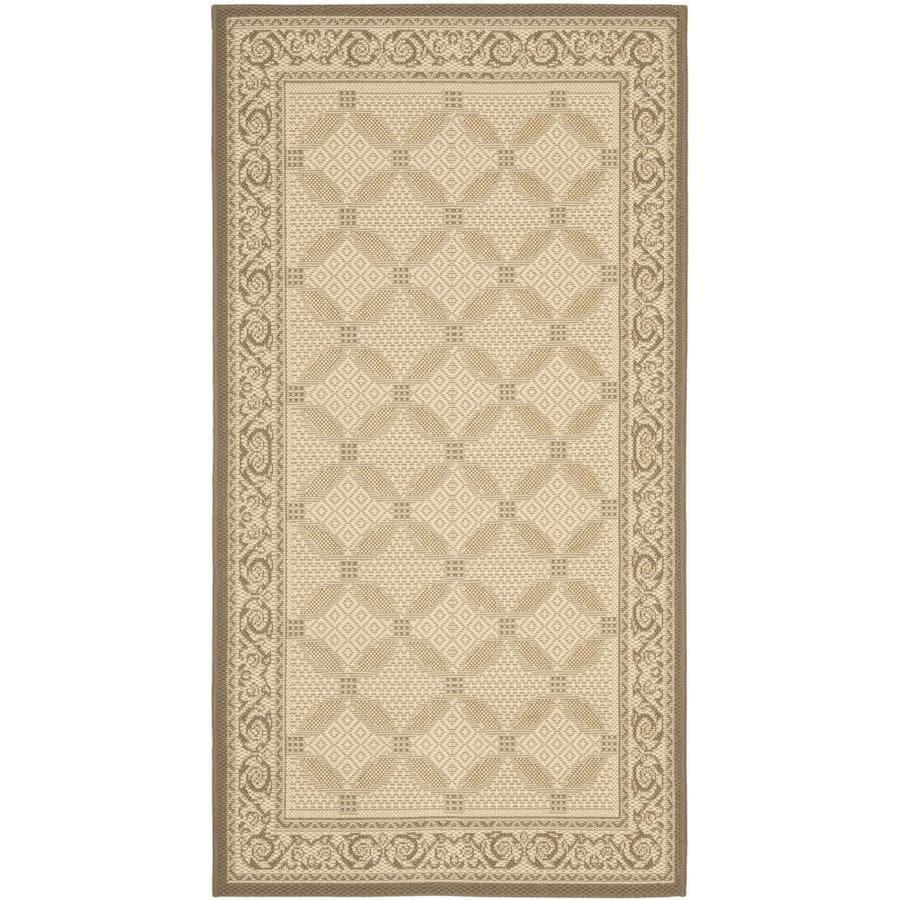 Safavieh Courtyard Beige and Dark Beig Rectangular Indoor and Outdoor Machine-Made Throw Rug (Common: 3 x 5; Actual: 31-in W x 60-in L x 0.33-ft Dia)
