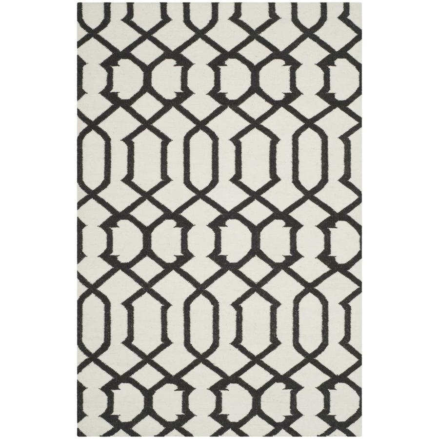 Safavieh Dhurries Ivory and Charcoal Rectangular Indoor Woven Throw Rug (Common: 3 x 5; Actual: 36-in W x 60-in L x 0.33-ft Dia)
