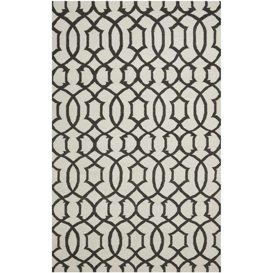 Safavieh Dhurries Ivory and Charcoal Rectangular Indoor Woven Area Rug (Common: 5 x 8; Actual: 60-in W x 96-in L x 0.33-ft Dia)