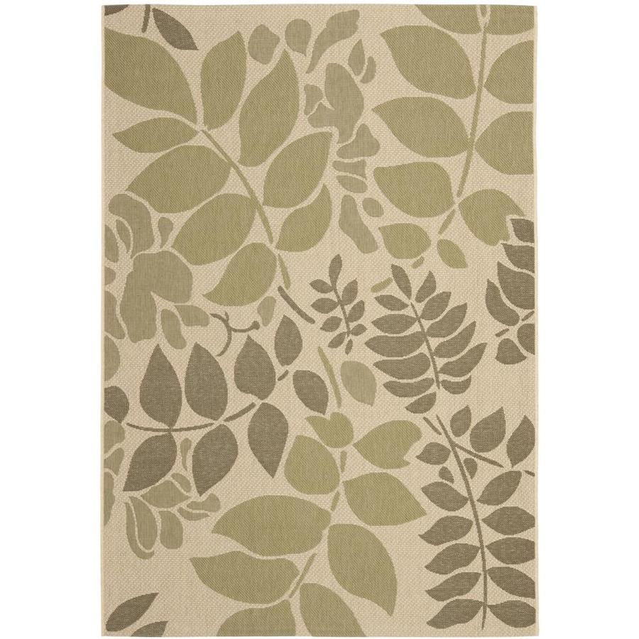 Safavieh Courtyard Cream and Green Rectangular Indoor and Outdoor Machine-Made Area Rug (Common: 4 x 6; Actual: 48-in W x 67-in L x 0.33-ft Dia)