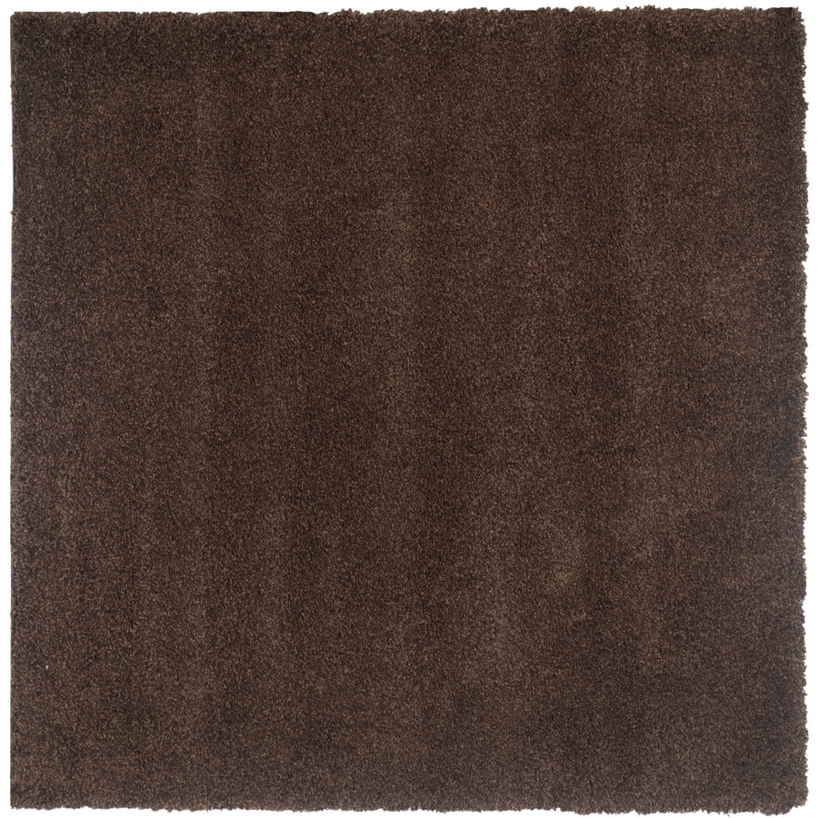 Safavieh Shag Brown Square Indoor Machine-Made Area Rug (Common: 7 x 7; Actual: 79-in W x 79-in L x 0.58-ft Dia)