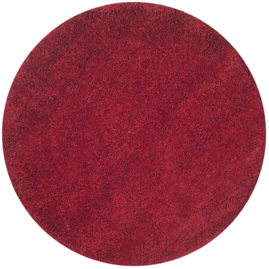 Safavieh Shag Red Round Indoor Machine-Made Area Rug (Common: 4 x 4; Actual: 48-in W x 48-in L x 0.42-ft Dia)
