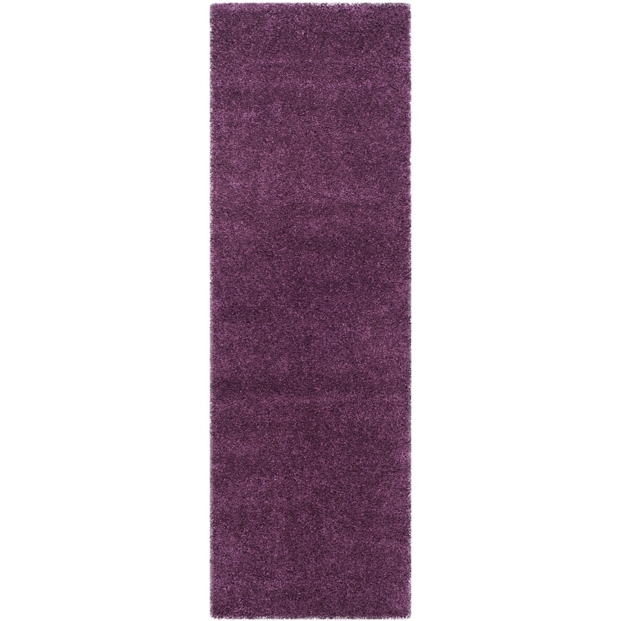 Safavieh Shag Purple Rectangular Indoor Machine-Made Runner (Common: 2 x 11; Actual: 27-in W x 132-in L x 0.83-ft Dia)