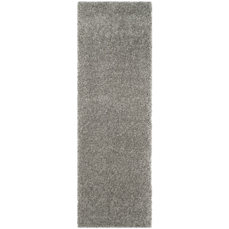 Safavieh Shag Silver Rectangular Indoor Machine-Made Runner (Common: 2 x 11; Actual: 27-in W x 132-in L x 0.83-ft Dia)