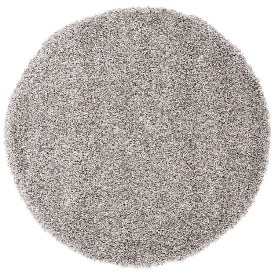Safavieh Shag Silver Round Indoor Machine-Made Area Rug (Common: 4 x 4; Actual: 48-in W x 48-in L x 0.42-ft Dia)