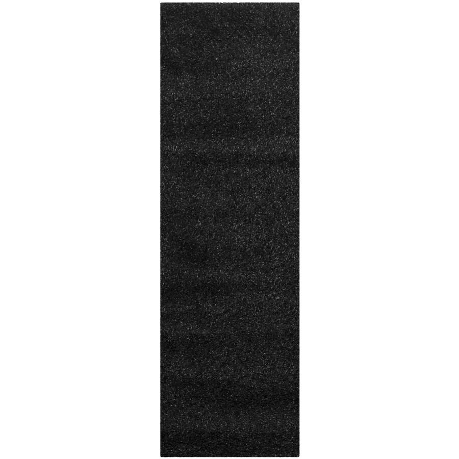 Safavieh Shag Black Rectangular Indoor Machine-Made Runner (Common: 2 x 9; Actual: 27-in W x 108-in L x 0.58-ft Dia)