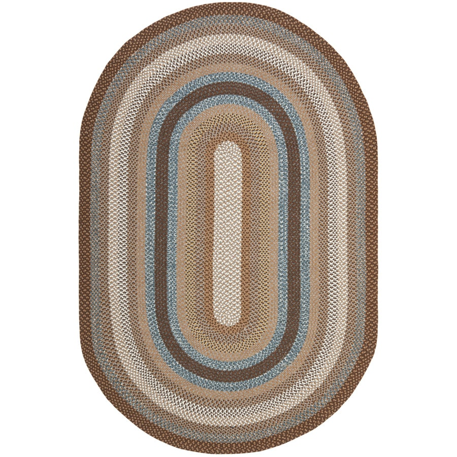 Safavieh Braided Brown and Multicolor Oval Indoor Braided Area Rug (Common: 9 x 12; Actual: 108-in W x 144-in L x 0.83-ft Dia)