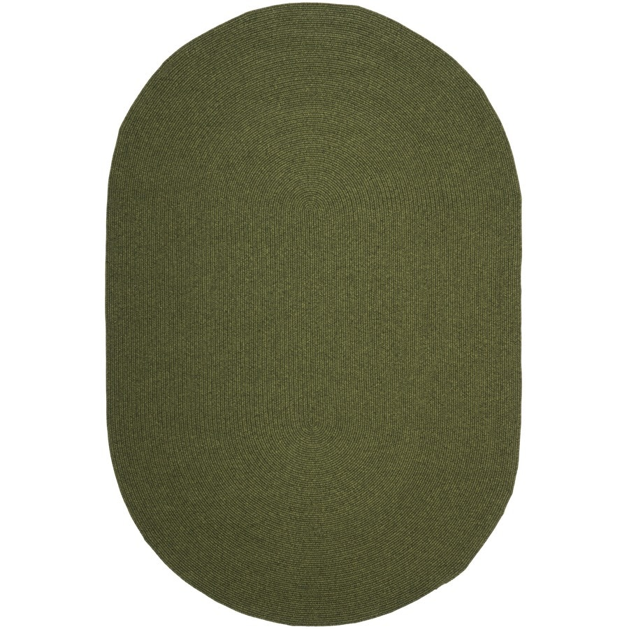 Safavieh Braided Green Oval Indoor Braided Area Rug (Common: 9 x 12; Actual: 108-in W x 144-in L x 0.83-ft Dia)
