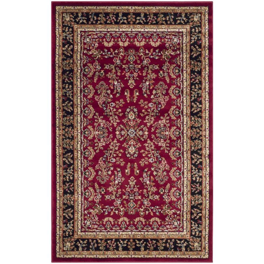 Safavieh Lyndhurst Red and Black Rectangular Indoor Machine-Made Throw Rug (Common: 2 x 4; Actual: 27-in W x 48-in L x 0.33-ft Dia)