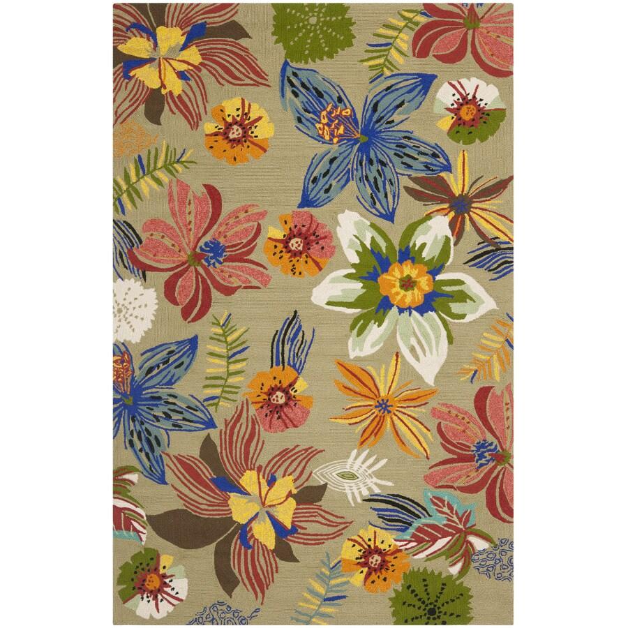 Safavieh Four Seasons Rectangular Green Floral Indoor/Outdoor Woven Area Rug (Common: 4-ft x 6-ft; Actual: 3.5-ft x 5.5-ft)