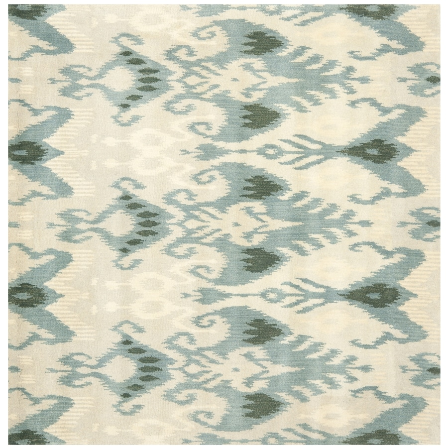 Safavieh Ikat Beige and Slate Square Indoor Tufted Area Rug (Common: 6 x 6; Actual: 72-in W x 72-in L x 0.58-ft Dia)