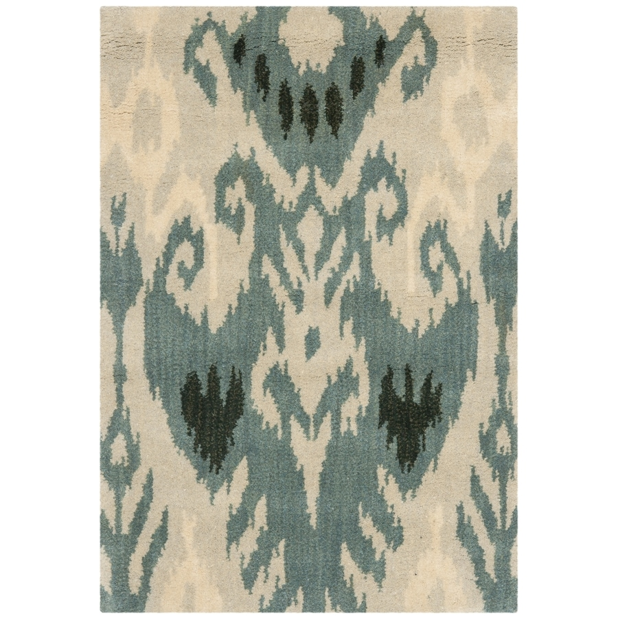 Safavieh Ikat Beige and Slate Rectangular Indoor Tufted Throw Rug (Common: 3 x 5; Actual: 36-in W x 60-in L x 0.42-ft Dia)
