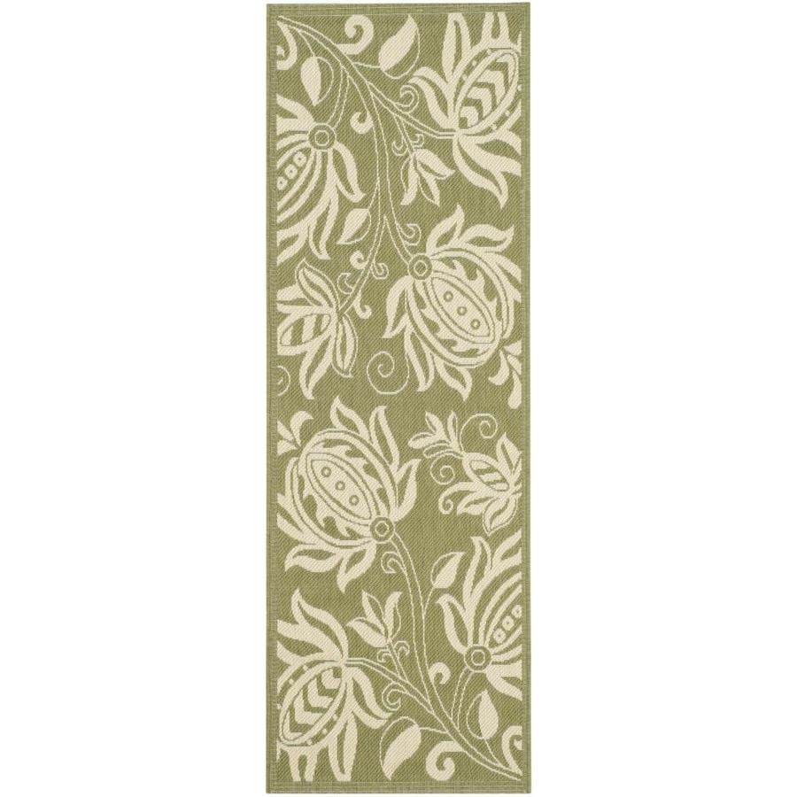 Safavieh Courtyard Olive and Natural Rectangular Indoor and Outdoor Machine-Made Runner (Common: 2 x 10; Actual: 28-in W x 119-in L x 0.42-ft Dia)