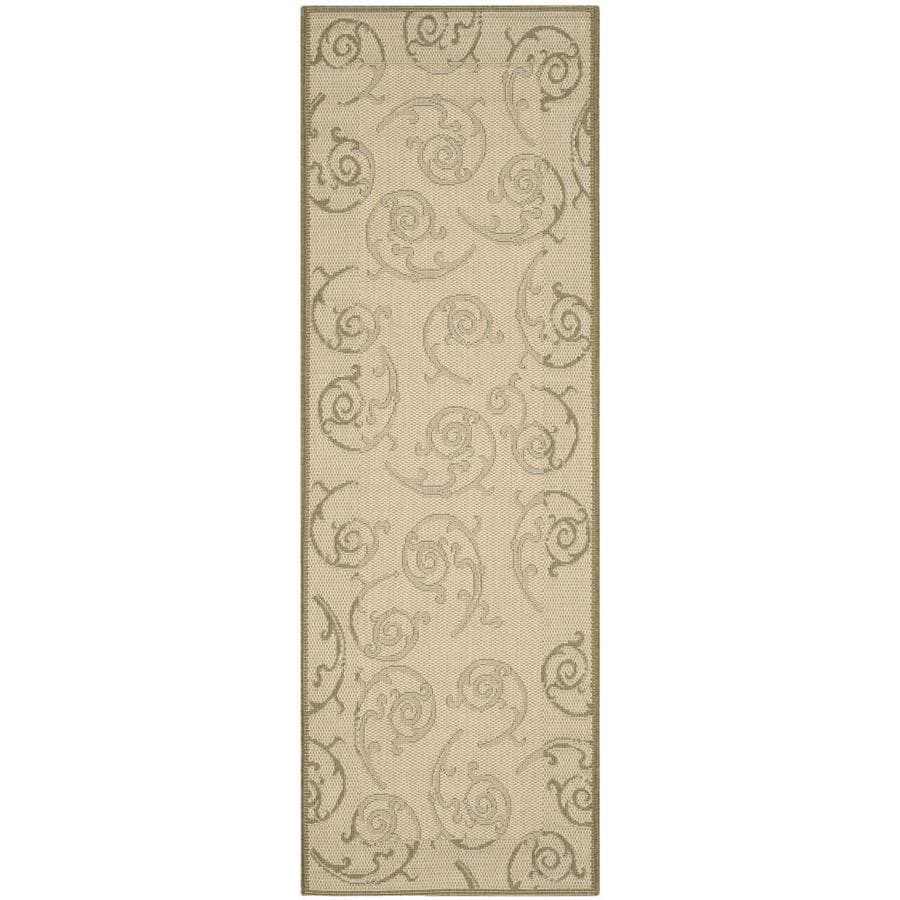 Safavieh Courtyard Natural and Olive Rectangular Indoor and Outdoor Machine-Made Runner (Common: 2 x 10; Actual: 28-in W x 109-in L x 0.42-ft Dia)