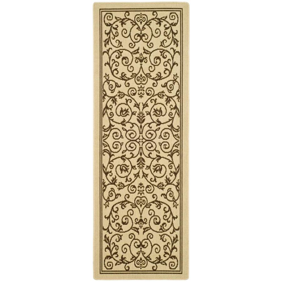 Safavieh Courtyard Natural and Brown Rectangular Indoor and Outdoor Machine-Made Runner (Common: 2 x 10; Actual: 28-in W x 109-in L x 0.42-ft Dia)