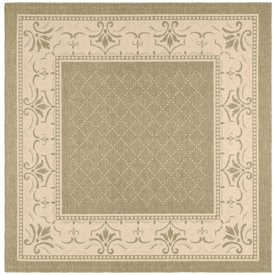 Indoor Outdoor Rugs Square: Shop Safavieh Courtyard Olive And Natural Square Indoor