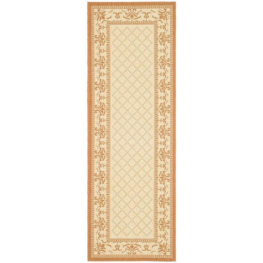 Safavieh Courtyard Natural and Terra Rectangular Indoor and Outdoor Machine-Made Runner (Common: 2 x 10; Actual: 27-in W x 109-in L x 0.42-ft Dia)