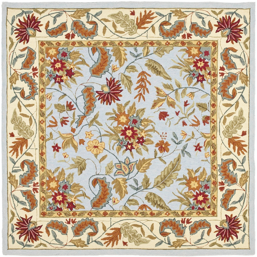 Safavieh Chelsea Light Blue Square Indoor Hand-Hooked Area Rug (Common: 6 x 6; Actual: 72-in W x 72-in L x 0.5-ft Dia)