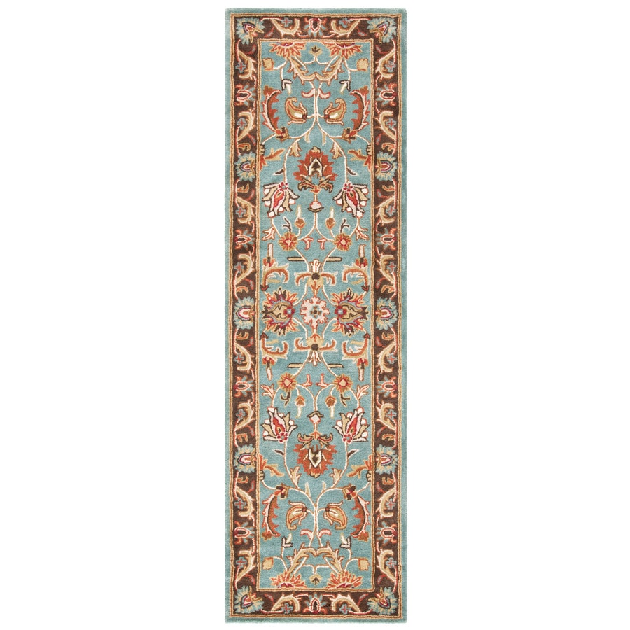 Safavieh Heritage Blue and Brown Rectangular Indoor Tufted Runner (Common: 2 x 20; Actual: 27-in W x 240-in L x 1.25-ft Dia)