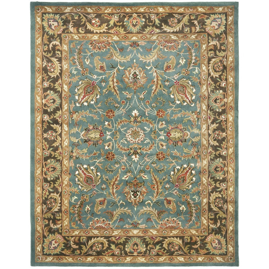 Safavieh Heritage Blue and Brown Rectangular Indoor Tufted Area Rug (Common: 8 x 10; Actual: 90-in W x 114-in L x 0.67-ft Dia)