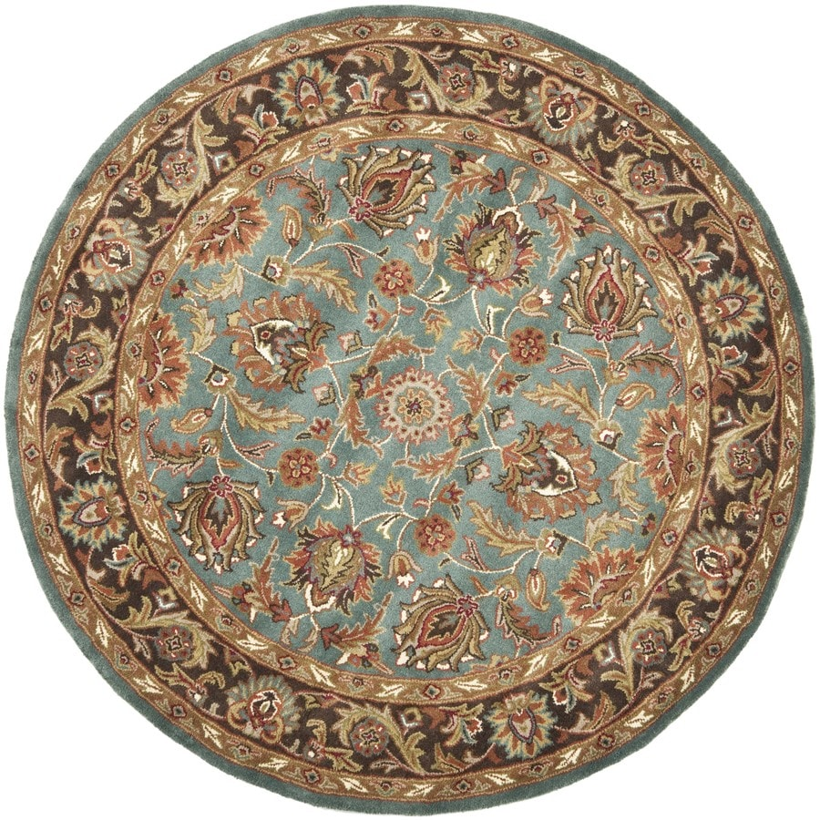 Safavieh Heritage Blue and Brown Round Indoor Tufted Area Rug (Common: 8 x 8; Actual: 96-in W x 96-in L x 0.67-ft Dia)