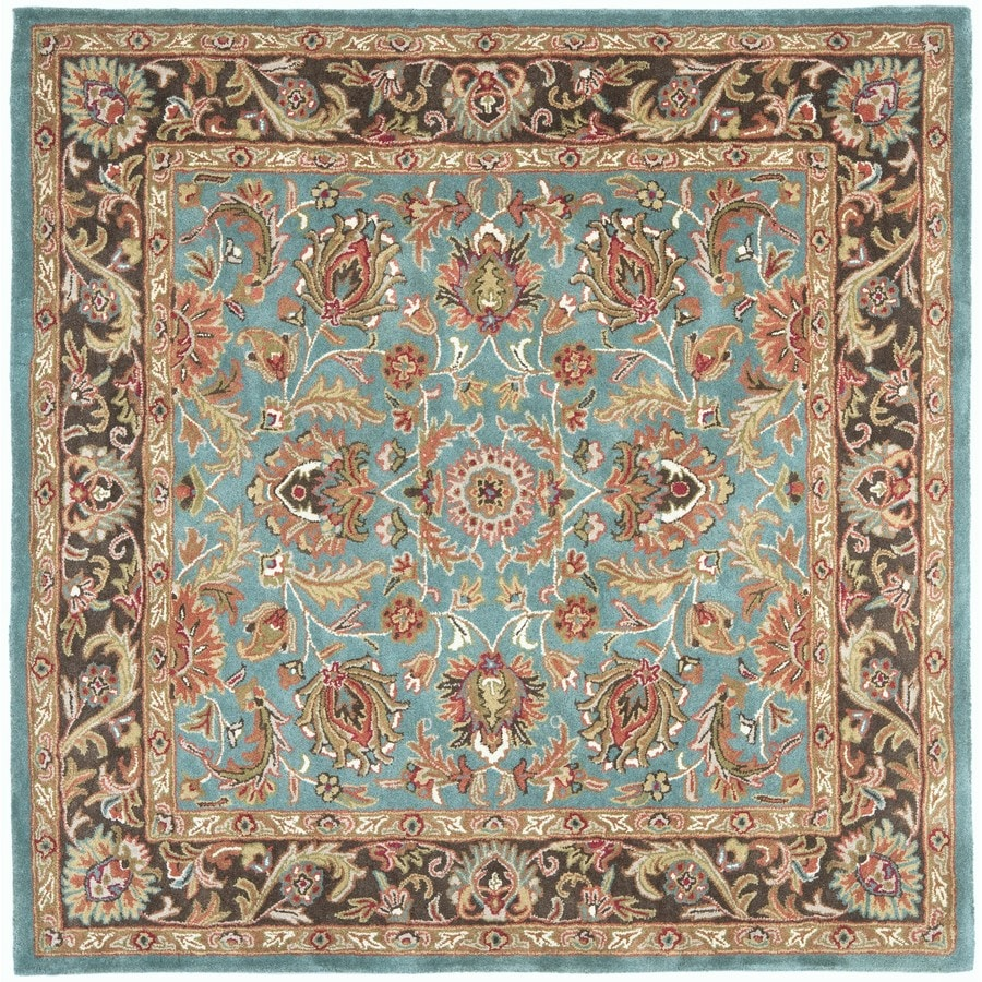 Safavieh Heritage Blue and Brown Square Indoor Tufted Area Rug (Common: 8 x 8; Actual: 96-in W x 96-in L x 0.67-ft Dia)