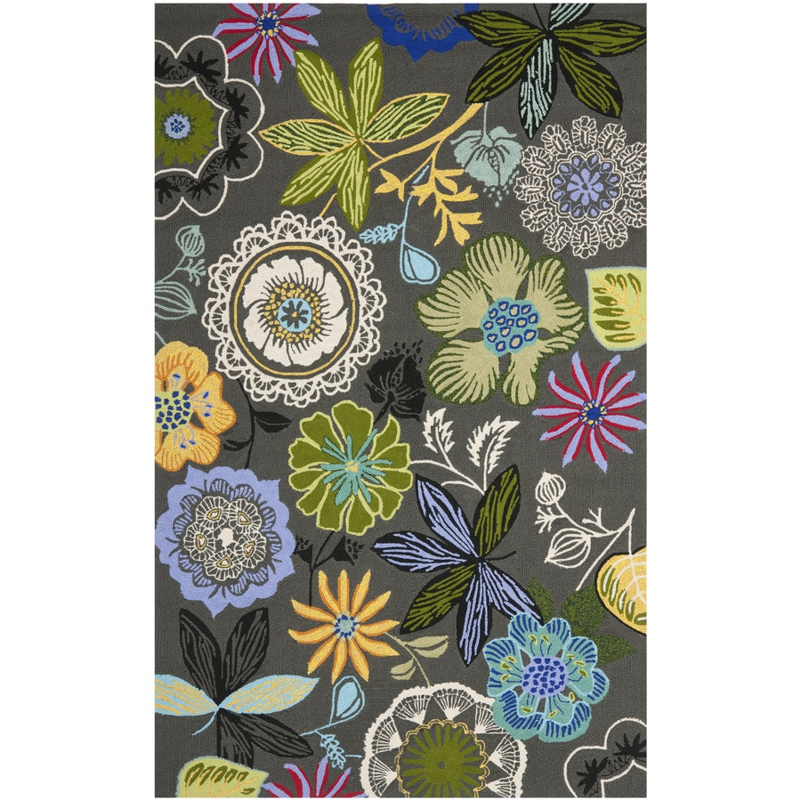 Safavieh Four Seasons Rectangular Gray Floral Indoor/Outdoor Woven Area Rug (Common: 4-ft x 6-ft; Actual: 3.5-ft x 5.5-ft)