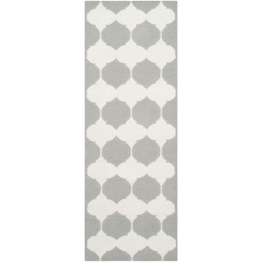 Safavieh Dhurries Grey and Ivory Rectangular Indoor Woven Runner (Common: 2 x 7; Actual: 30-in W x 84-in L x 0.33-ft Dia)