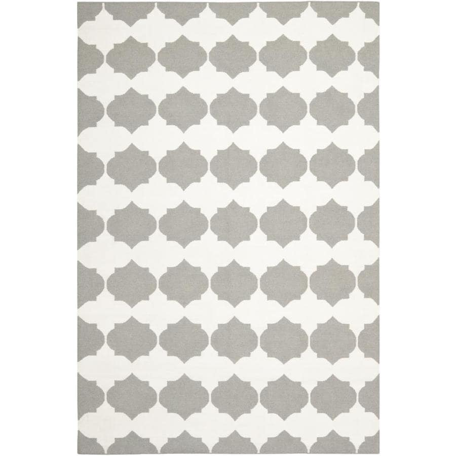 Safavieh Dhurries Grey and Ivory Rectangular Indoor Woven Area Rug (Common: 5 x 7; Actual: 60-in W x 72-in L x 0.33-ft Dia)