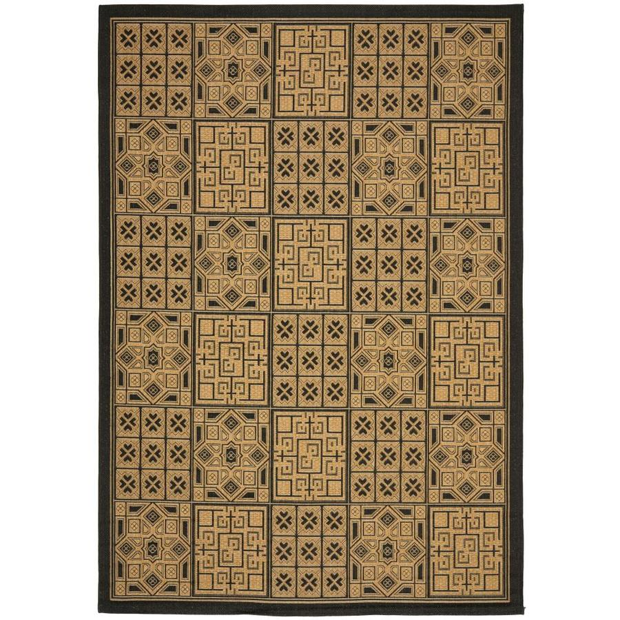 Safavieh Courtyard Black and Natural Rectangular Indoor and Outdoor Machine-Made Area Rug (Common: 6 x 9; Actual: 79-in W x 114-in L x 0.42-ft Dia)