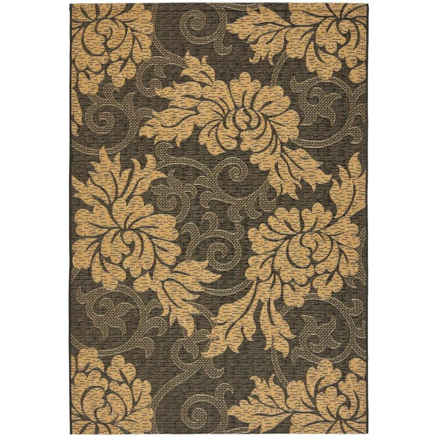 Safavieh Courtyard Black and Natural Rectangular Indoor and Outdoor Machine-Made Area Rug (Common: 8 x 11; Actual: 96-in W x 134-in L x 0.58-ft Dia)