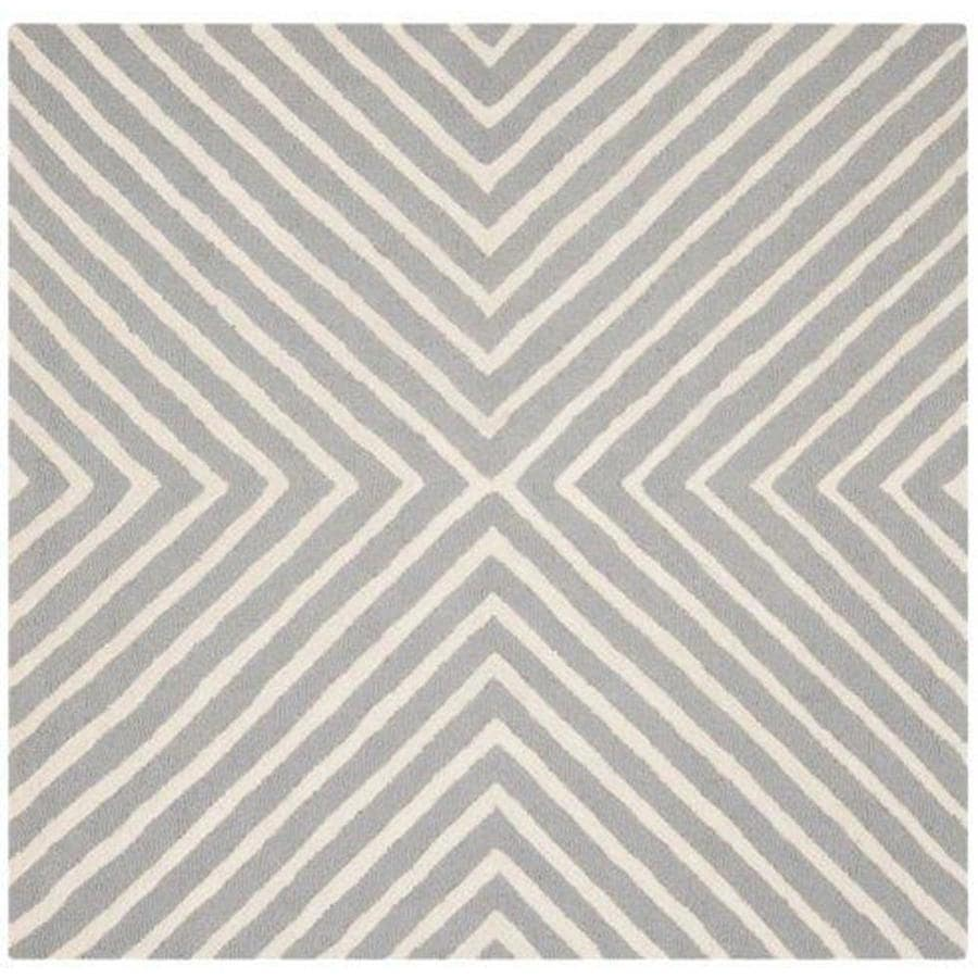 Safavieh Cambridge Silver and Ivory Square Indoor Tufted Area Rug (Common: 4 x 4; Actual: 48-in W x 48-in L x 0.33-ft Dia)